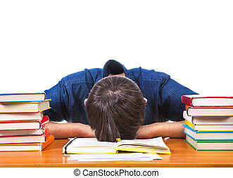 Tired Student sleeping - Tired Student sleep on the Book on...