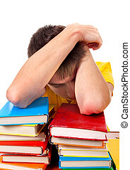 Tired Student sleeping - Tired Young Man sleep on the Books
