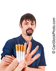 Man deny a Cigarettes Isolated on the White Background