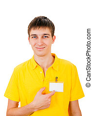 Young Man with Empty Badge Isolated on the White Background