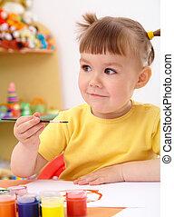 ペンキ, 引く, 幼稚園, 子供