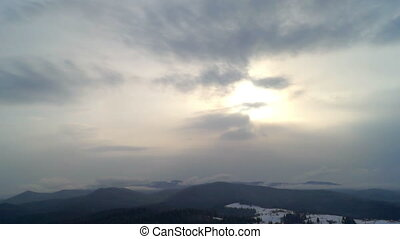 Cloud mountains sky sun - Place in the mountains in winter....