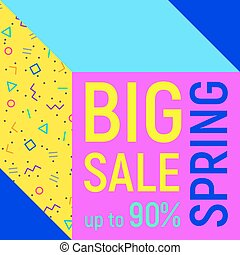 Big sale geometric background, memphis style - Abstract Big...