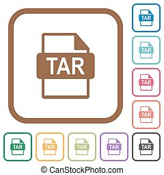 TAR file format simple icons in color rounded square frames...