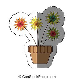 color sticker silhouette with flower in pot