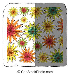 color sticker background with several flowers