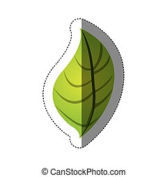 color sticker silhouette with green oval leaf