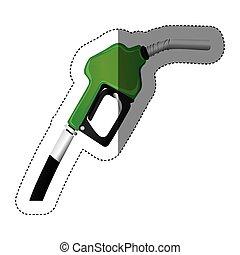 color sticker silhouette with gasoline pump nozzle