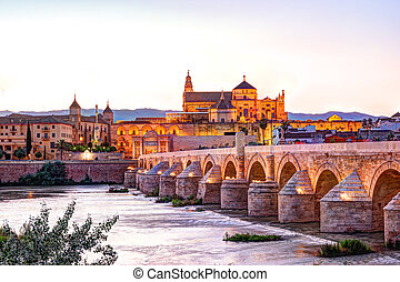 Roman Bridge and Guadalquivir river, Great Mosque, Cordoba,...