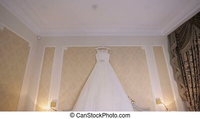 Wedding dress in bedroom - Wedding white dress in bedroom