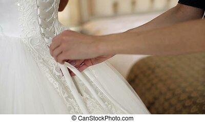 Wearing wedding dress - Wearing white wedding dress closeup