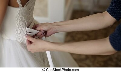 Wearing wedding dress - Wearing white wedding dress closeup