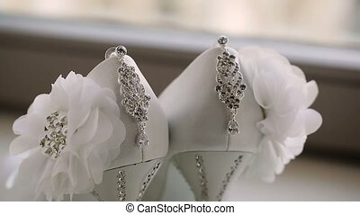 Wedding shoes and earrings pan
