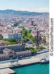 La Rambla in Barcelona, Spain. Aerial view - La Rambla in...