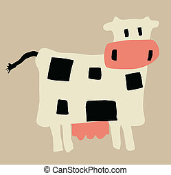illustration of the cow on yellow background