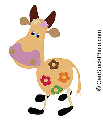 vector drawing of the cow on white background