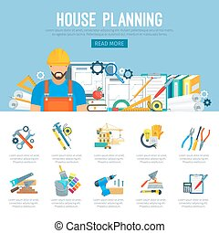 House planning or construction infographics vector