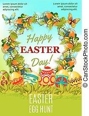 Easter holiday egg hunt cartoon poster design