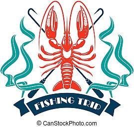 Fishing trip lobster omar vector icon