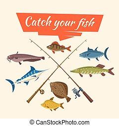 Fish catch and fisher vector tackle and rods - Fishing catch...
