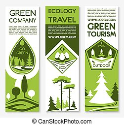 Eco green travel vector banners