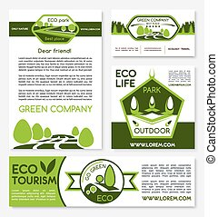 Eco tourism and green travel vector templates