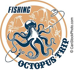 Fishing trip vector icon of octopus and tackle - Octopus...