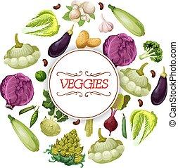 Veggies and vegetables vegetarian vector poster - Vegetables...