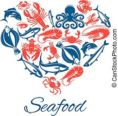 Seafood fish food heart vector poster - Seafood heart poster...