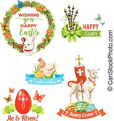 Easter holiday wishes cartoon emblem set