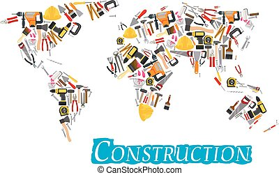 Construction work tools vector world map