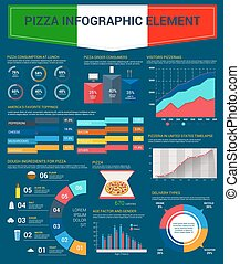 Pizza consumption pizzeria infographics vector - Pizza and...