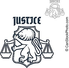 Justice and law vector heraldic lion, scales icon