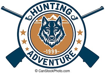Hunting sport or hunter club, wolf vector icon - Hunting...