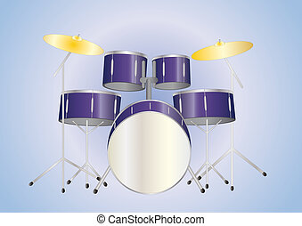 drum set purple - purple drum set on light background