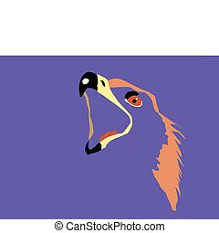 vector silhouette of the head of the golden eagle on blue...