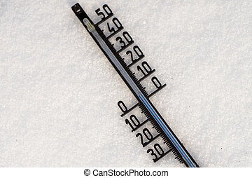 Thermometer on snow shows low temperatures in degrees Celsius