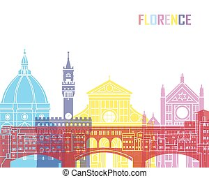 Florence skyline pop in editable vector file