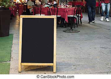 menu, restaurante, quadro-negro