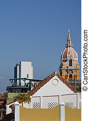 Historic Cartagena - Stone tower of the historic Cathedral...