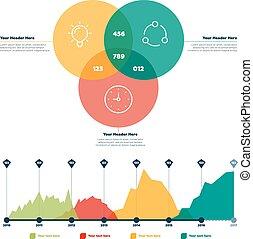 Infographics elements. Line chart and circles