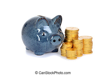 blue piggy bank with gold coins