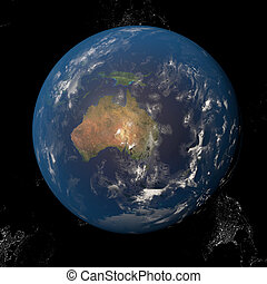 The Earth from space showing Australia and Indonesia. Other...