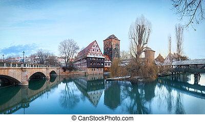 Medieval city Nuremberg, Germany - Winter panorama of Henker...