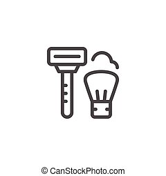 Shave line icon isolated on white. Vector illustration