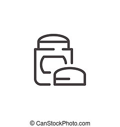 Dry deodorant line icon isolated on white. Vector...