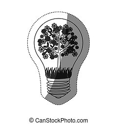 grayscale contour sticker with bulb light and floral tree...