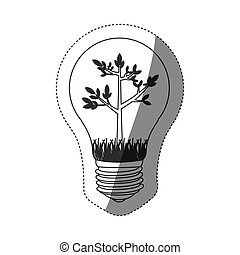 grayscale contour sticker with bulb light and tree growing...
