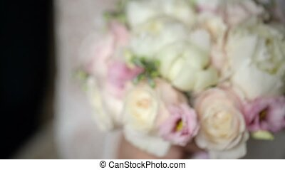 Bouquet in woman hands closeup