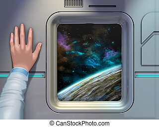 Space exploration - Space explorer looking through a...